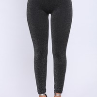 Glitter Fleece Lined Leggings - Black