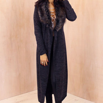Maxi Length Fur Collar Spacedye Cardigan with Belt in Charcoal Grey