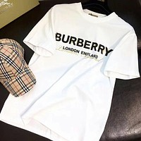 BURBERRY Summer Women Men Casual Letter Print Round Collar T-Shirt Top White