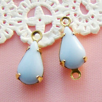 Vintage 10x6mm Opaque Pale Blue Glass Teardrop Stones Jewels in Brass Settings - 6