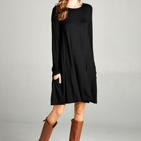 Bellamie Long Sleeve Swing Pocket Dress - Black