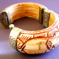 Bone Bracelet Hinged Hand Carved Elephant Tiger Vintage Brass