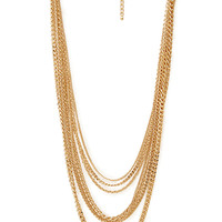 FOREVER 21 Signature Multi-Layered Chain Necklace Gold One