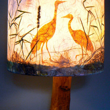 Artisan Papers and Pressed Plant Lamp Shade, Cranes in the Reeds