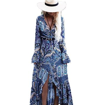 Bohemia Long Dress Women Floral Print Chiffon Beach Dress Summer V-neck Dress Ruffle Bohemian Dress Hippie Boho Beach Cloth