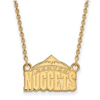 NBA Denver Nuggets Sm Pendant Necklace in 14k Yellow Gold - 18 Inch