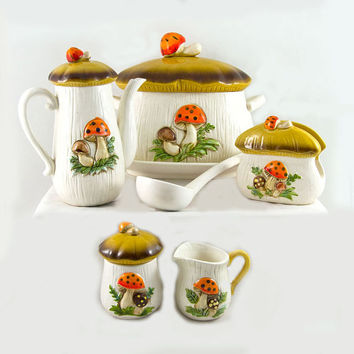 Merry Mushroom Set - Soup Tureen, Platter, Ladle, Coffee Pot, Creamer & Sugar, Napkin Holder 1970s Retro Kitchen