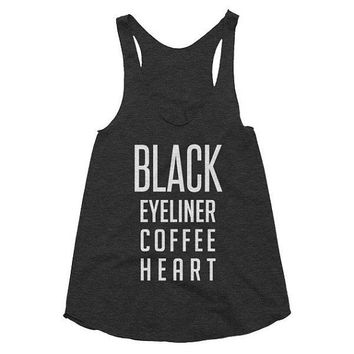Black eyeliner, coffee, heart, funny, racerback tank, Gym, Yoga Top, gift, spiritual, black tank, coffee addict, birthday