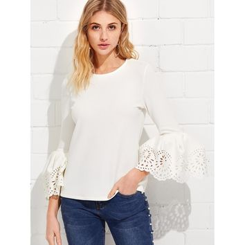 Exaggerate Laser Cut Sleeve Top