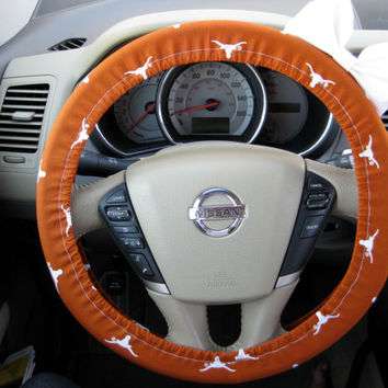 The Original Texas Longhorns Steering Wheel Cover with Matching Bow
