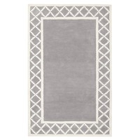 Diamond Border Rug, Gray