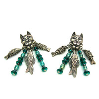 Cat Earrings. Cat Face & Paws w/ Articulated Fish Charms. Dangle Earrings. Teal Glass Beads. 3 D Pierced Earrings. 1980s Vintage Jewelry.