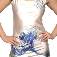 Great Wave Above Knee Sleeveless Mini Dress Design 3008