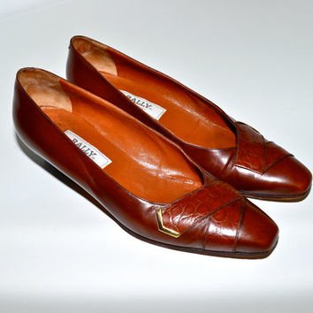 Make an Offer BALLY Italian Designer 1980s Brown Leather PUMPS Heels Shoes Ladies sz 10 Made in Italy Like Salvatore Ferragamo