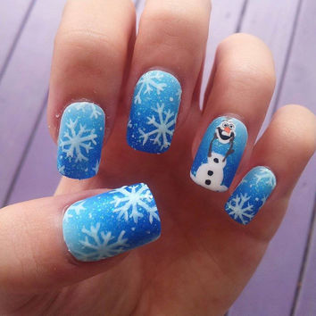 Frozen olaf blue ombre snowflake hand-painted fake nails