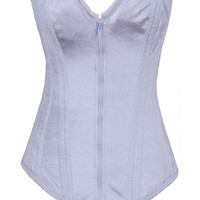 White Zip-up Casual Corset
