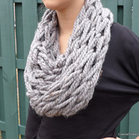 Knit Cowl, Scarf, Grey, Infinity Scarf, Handmade, Made to Order