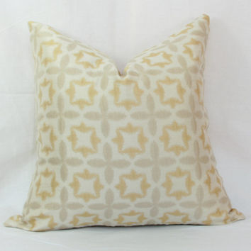 "Gold & ivory pillow cover.  Waverly Stardust jacquard decorative pillow cover. 20"" x 20"" pillow."