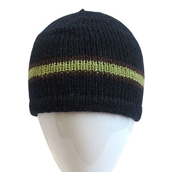 Alpaca YOUTH Boy 7-12 Wool Fleeced-Lined Beanie Hat Handmade Bolivia Navy
