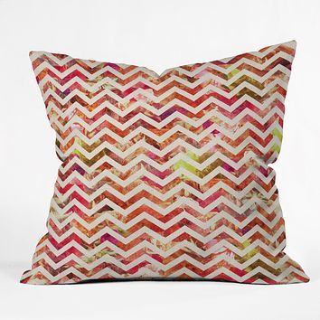Bianca Green Floral Chevron Pink Throw Pillow