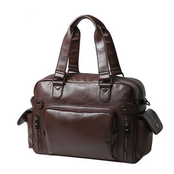 Leather Briefcase Travel Bag Casual Business Soft Leather Mens Messenger Bag Luxury Handbags Designer Vintage Men's Shoulder Bag