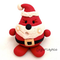 CHRISTMAS SANTA PARKER - Polymer Clay Character Tree Ornament or Figurine