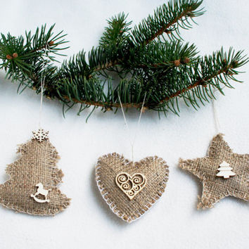 Christmas burlap ornament, natural, Christmas tree, star, heart, set of 3, Christmas tree ornament, home decor