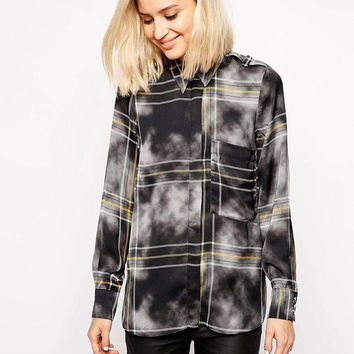 Black Cloud Plaid Button Long-Sleeve Collared Shirt With Pocket