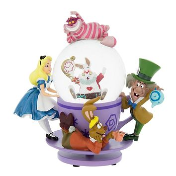 disney parks alice in wonderland mad tea party snow globe new with box