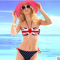 Fashion national flag wave point Bikini