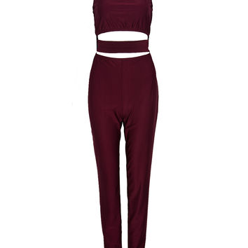 Burgundy Off Shoulder Cut Out Open Belly Jumpsuit