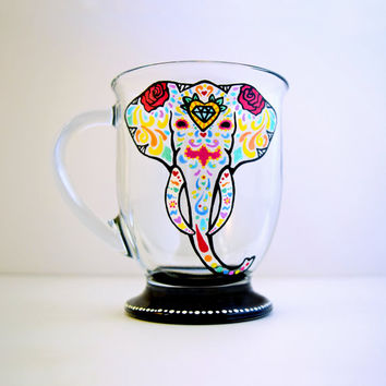 Elephant | Mug | Coffee Mug | Hand Painted | Glass | Sugar Skull | Yoga | Housewarming | Birthday | Elephants | Yogi | Gifts | For Her