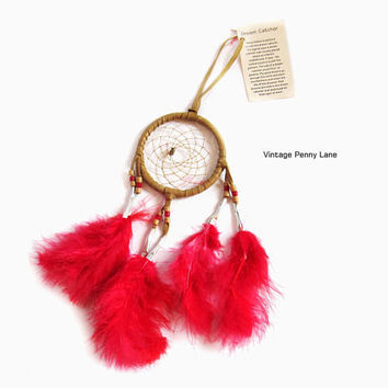 Vintage Handmade Native American Dreamcatcher, Bead / Red Feather Dream Catcher