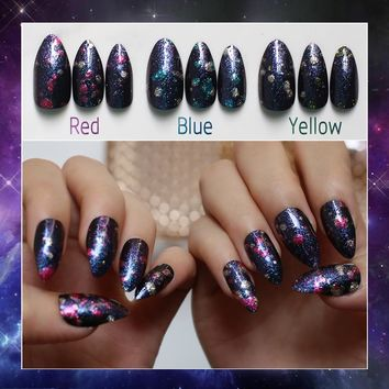 24PCS Blue Outer Space 3D flash Stiletto false Nails Purple Galaxy Fake Nails Almond Starry sky Nails yellow Dream space Pointed