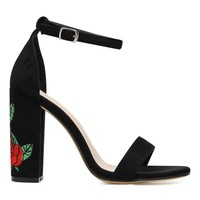 Flower Embroidered Two-piece Sandals