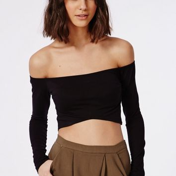 Missguided - Long Sleeve Bardot Crop Top Black