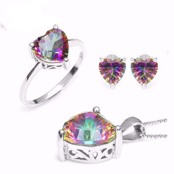 .925 Solid Silver Heart Mystic Topaz Ring, Pendant & Earring Set