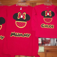 Red Yellow Black - Mickey Minnie Mouse - Disney Birthday Family Custom T-Shirt Personalized Applique