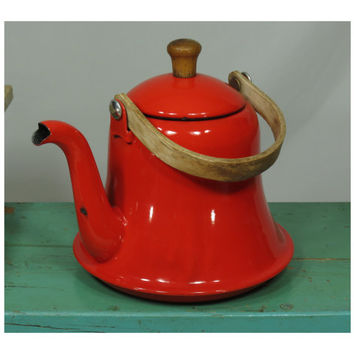 Bright Red Enamelware Bell Shaped Tea Kettle Teapot Vintage Mid Century