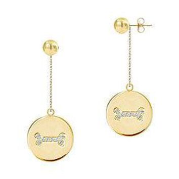 Diamond Disc Earrings : 14K Yellow Gold - 0.25 CT Diamonds