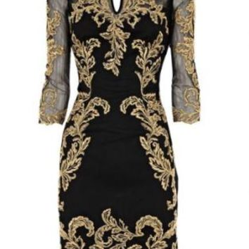 Black & Gold Lace Embroidered 3/4 Sleeve Bodycon Dress