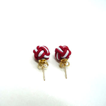 Chinese knot pearl stud earrings, knot earrings, cord earrings, silk knot earrings, red and white earrings