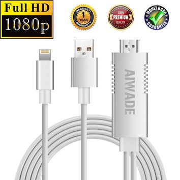 Lightning to HDMI Cable,iPhone to HDMI Adapter for TV Projector Monitor,Apple iPhone X/8 Plus/7+/6/5S 1080P Digital AV HDTV Cord Converter,iPad Pro Air Mini to HDMI Connector Dongle,iPod Touch to HDMI
