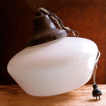 Antique Schoolhouse Light Fixture - Huge Size - Milk Glass Globe - Pendant Lamp - Industrial Architectural Salvage - Cottage Rustic Decor