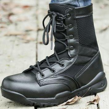 Military Mesh Tactical Boots Light Weight Combat Boots For Climbing Outdoor Hiking Shoes Breathable Shoes Mountain Hunting Shoe