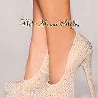 Nude Allover Rhinestones High Heel Pumps
