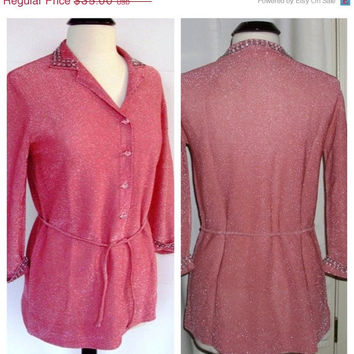 CIJ - Sale  - Vintage sweater, Lurex, tunic style, Luisa Spagnoli - pink with crystals and tie belt