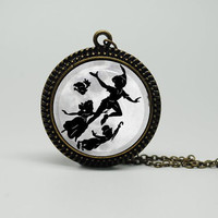 Vintage Style Glass Necklace with Peter Pan and Vintage Style Chain