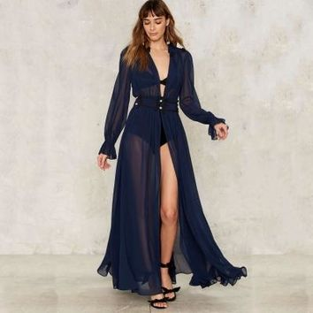 Women Dress Deep V-Neck Long Sleeve Front Split Sexy  A-Line Ruffle Sheer Elegant Maxi Dress