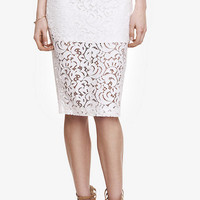 HIGH WAIST CROCHETED LACE MIDI PENCIL SKIRT from EXPRESS